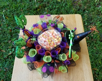 Halloween Candy Dish~Deco Mesh Halloween Witch Centerpiece~Witch Legs Decor~Witch Hat Decor~Deco Mesh Witch~Halloween Centerpiece for Table