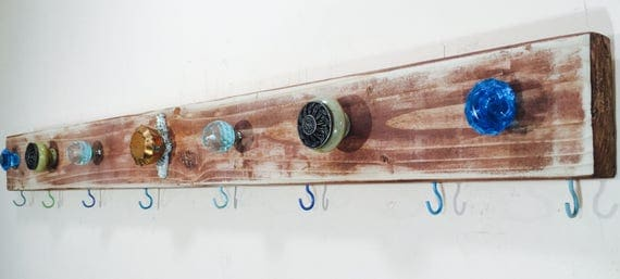 Bathroom wall decor / towel rack /bath room organization/ reclaimed wood organizer art aqua 8 gold towel hooks 7 teal blue glass knobs
