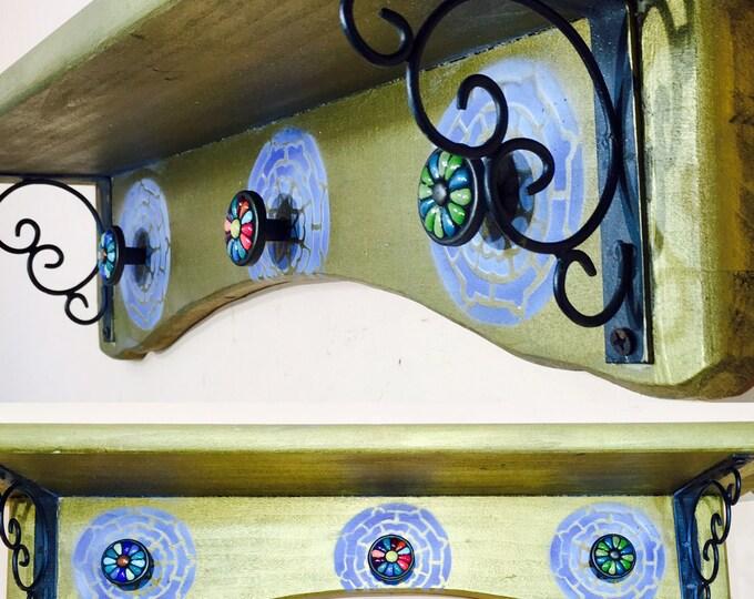 Art deco wooden upcycled shelf /floating shelves /bedroom nightstand wall decor /jewelry storage hanging vanity makeup organizer 3 knobs
