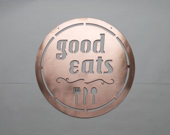 Good Eats Sign - Kitchen Sign - Housewarming Gift - Kitchen Decor - Copper Gift - Wedding Gift - REAL SOLID  Copper Sign