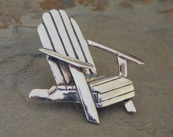 Vintage Detailed Sterling Silver Adirondack Chair Pin / Brooch