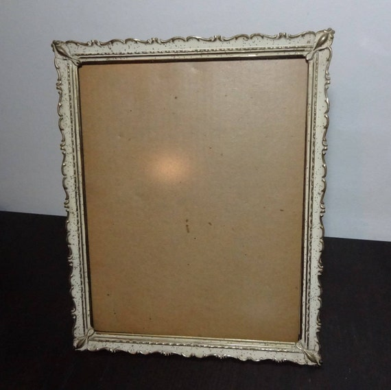 vintage 8 x 10 brass or gold tone picture frames antiquedwhitewashed off white with gold specks and a scalloped edge hollywood regency from - Whitewashed Picture Frames