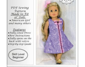 18 inch doll clothes pattern, American girl doll clothes pattern, PDF Sewing Pattern, Romantic Dress with a Bow - instant download
