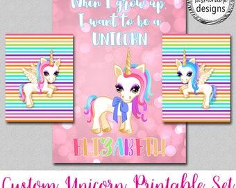 Customized Unicorn Printable, Unicorn Name Printable, Unicorn Room Decor, JPG files