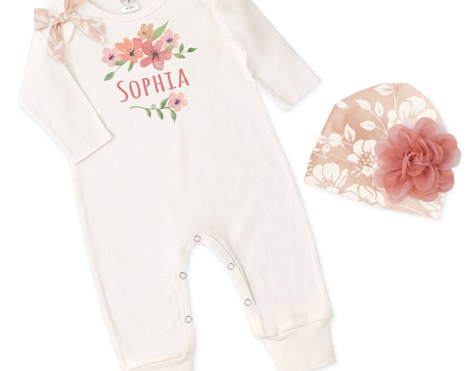 Personalized Newborn Girl Coming Home Outfit, Monogram Baby Girl Outfit, Baby Girl Take Home Romper, Baby Girl Beanie Tesababe RP81IY-1B45PR