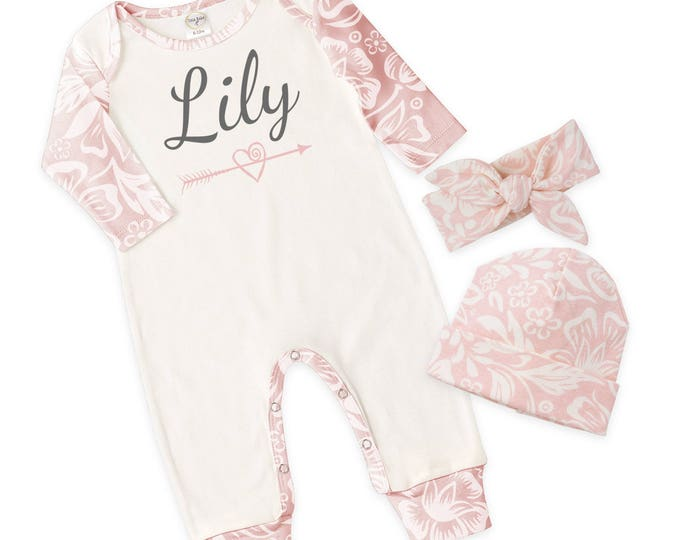 Personalized Baby Girl Take Home Bodysuit Romper, Baby Name Romper, Customized Baby Girl Romper, PinkTesaBabe