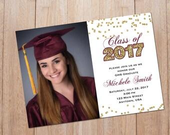 Gold Confetti Invitation, Graduation, Sweet 16, Bachelorette Party