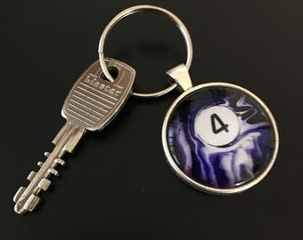 Key Chain (4 Ball) - Swirl Pool Ball Image under glass dome.