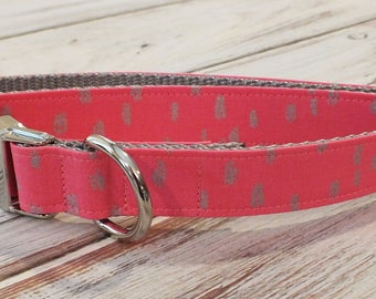 Pink and Silver Dots Dog Collar, preppy, metal hardware