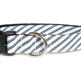 Navy, Denim Look, Seersucker Wide Stripe Dog Collar