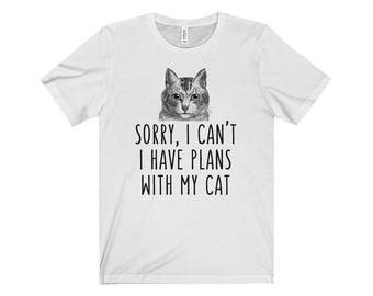 Sorry I can't I have plans with my cat T-shirt, Heather Cat lovers Tshirt, Funny Cat Tee Shirts, Cat lover Gift Apparel Shirt