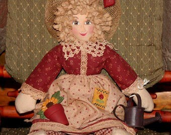 "Doll, Rag Doll, Cloth Doll, Folk Art Doll, Primitive...Hand Made.  ""Emily"" with Watering can is ready for her garden."