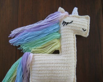 "Unicorn Rag Doll; Crochet Unicorn Doll; Unicorn Stuffed Animal Rag Doll; Unicorn Rainbow Hair, 15"" Tall"
