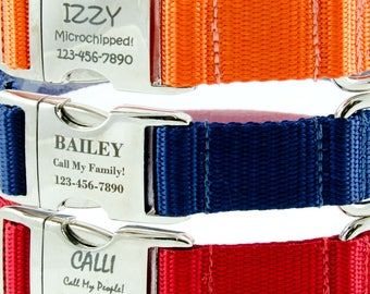 Dog Collars Personalized with Custom Laser Engraved Pet ID, Adjustable for Small Dogs or Large Dogs, Available in Blue, Orange or Red