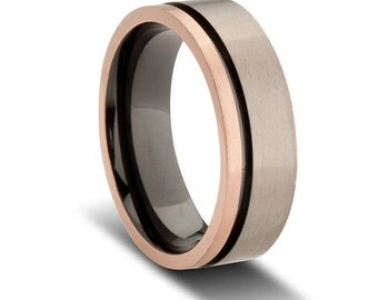 Grey and Black Zirconium Wedding Band with Rose Gold Plated Edging