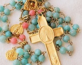 Rosary - Eucharist Amazonite Coral, Mary Magdalene & Saintes-Maries - 18K Gold Vermeil
