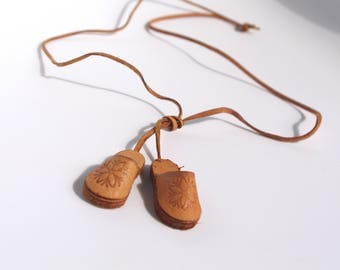 Polish leather folk necklace shoes simple natural necklace boho leather jewelry ethnic eco style gift for her bohemian style craft Poland