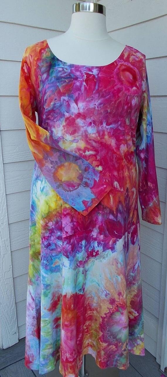 3XL Long-sleeve Ice dye tie dye Dress