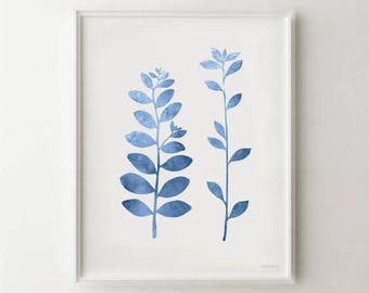 Exceptionnel Blue Leaf Branches Art, Blue Wall Decor PRINTABLE Art, Blue And White Decor,