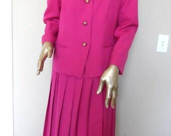 55% OFF Vintage 1990's Pink PENDLETON Suit* Pleated Skirt.Size 12 Jacket.Size 14 Skirt.PENDLETON Sophisticates.Summer Suit.Nineties. Fuscia