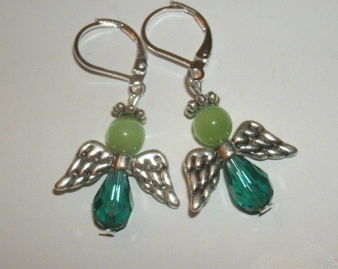 Green Angel Earrings - teal/green, Swarovski Crystal teardrops, cats eye beads, silver plated halos & wings, leverback, gift for her, faith