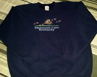 """Vintage 90's Mammoth Cave National Park Kentucky Sweatshirt - Size Large - Measures 21"""" Pit to Pit"""