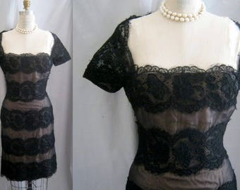 """Vintage 90s Arnold SCAASI BOUTIQUE Sheath Dress Black Silk Chiffon and Lace LBD Bombshell Wiggle Pinup Style   Bust: 38"""""""