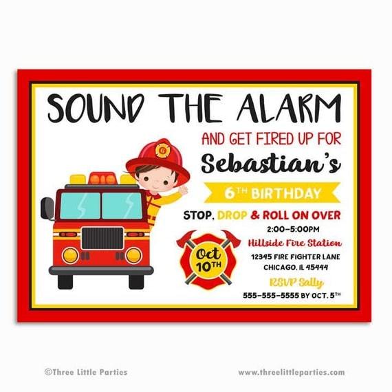 Firefighter Invitation Fire truck Birthday Invitation Printable