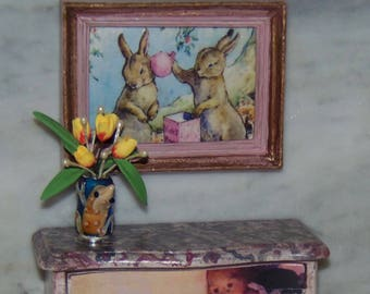 1:12th Dollhouse Framed Art Picture of Rabbits.  Perfect for a Nursery.   Pink and Gold Leaf.