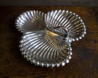 Vintage Silver plated server/ nibbles tray, FALSTAFF ENGLAND, divided dish with handle, dinner party,Age of Elegance,classical table setting