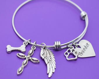 Pet Memorial Jewelry - Dog Memorial Bracelet - Pet Loss Gift - Forever in my Heart - In Memory of Dog. Personalized Dog Remembrance