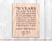 70th Birthday Gifts for Men, 70 Year Birthday Gift for Husband, Personalized Father Birthday Print, 70 Birthday Grandpa, Printable File