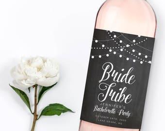 Bachelorette Party Wine Label, Custom Wine Label, Bachelorette Party Favor, Bride Tribe, Personalized Wine Labels, Bachelorette Label #CL103