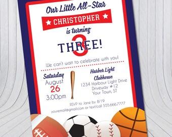 Sports Birthday Invitation {Digital File} Football Basketball Soccer Baseball   Birthday Boy   Party Invitations Printable