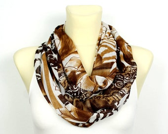 Leopard Infinity Scarf Brown Printed Scarf Leopard Print Scarf Animal Print Infinity Scarf Women Accessories Summer Outdoors, Summer Party