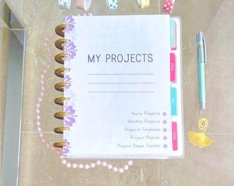 Happy Planner Inserts PROJECT GOALS Made to Fit Erin Condren Planner Printable Inserts 7 x 9 Perpetual Goals Tracker Inserts Refills PDF