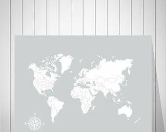 World Map Wedding Guest Book, Foam Board Map, Wedding World Map, Push Pin Map, Push Pin World Map, Nursery Wall Art, Map of the World -52177