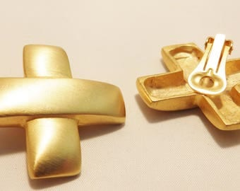 Large Brushed Gold Tone Clip On Earrings
