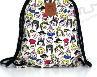10% OFF [Origi 14.99] Smiley faces Backpack Canvas drawstring Hip bag Festival backpack Handmade bag