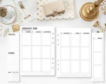 A5 2018 Weekly Vertical Wide printed planner calendar - Wo2P - week on two pages - week layout - Monday through Sunday - Fold-Out - Flap
