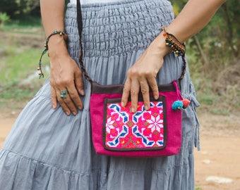 Hmong Crossbody Bag, Boho Purse, Vintage Embroidered Sling Bag for Women, Pom Pom Bag, Fair Trade Purse for Women, Gift Purse - BG522PINV