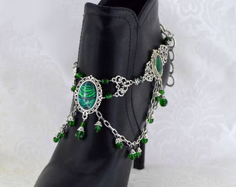 Medieval boot jewelry | Medieval Princess| Boot Chain, Medieval Jewelry, statement jewelry, Green boot jewelry, Large Jewelry,  for her