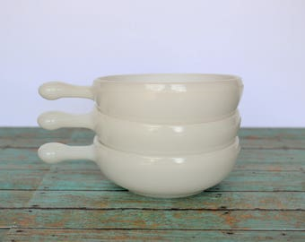 3 Vintage Milk Glass Soup Bowls With Handles