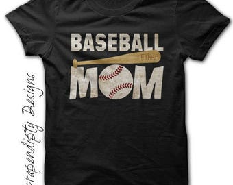 Baseball Mom Shirt - Custom Baseball Shirt / Womens Customized Tshirt / Sports Mom Clothing / Baseball Bat Tee / Black Tball Mom TShirt