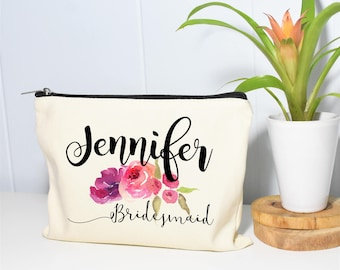 Bridesmaid Makeup Bag, Make Up Bag, Bridesmaids Gifts, Monogram Cosmetic Bag, Floral Makeup Bag, Bridesmaids, Will You Be My Bridesmaid Bag