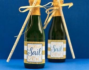 Last Sail Before the Veil Mini Champagne Bottle Label - Nautical Bachelorette Party Favor - Gold Glitter Beach Bachelorette Mini Wine Labels
