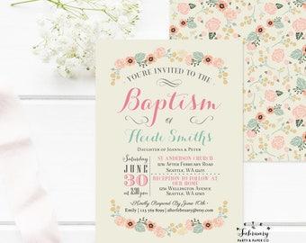 Floral Baptism Invitation Girl Floral Christening Invitation Naming Day 1st Holy Communion Invitation Printable OR Printed No.936BAPTISM