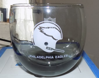 Vintage 1970s Philadelphia Eagles Smoked Tumbler Drinking Glass See Pics Perfect