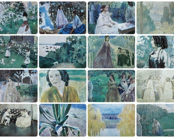 Victor Borisov-Musatov - Painting - Set of 16 Vintage Soviet Postcards, 1970. Post-Impressionistic Russian Symbolism style Art Print