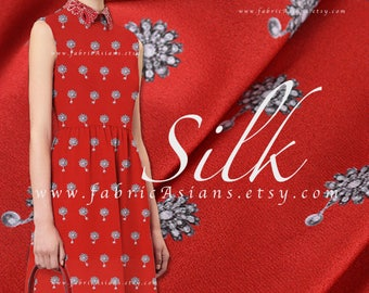 Red Silk Crepe Jewelry prints pure silk by the yard